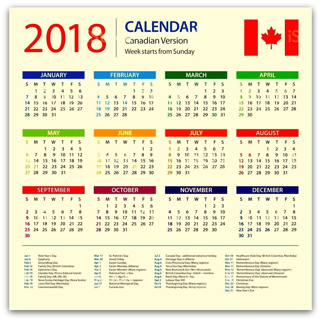 january 2018 canadian calendar