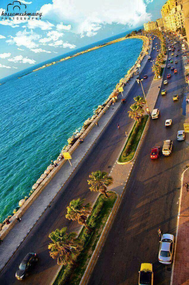 The corniche in Alexandria Egypt.