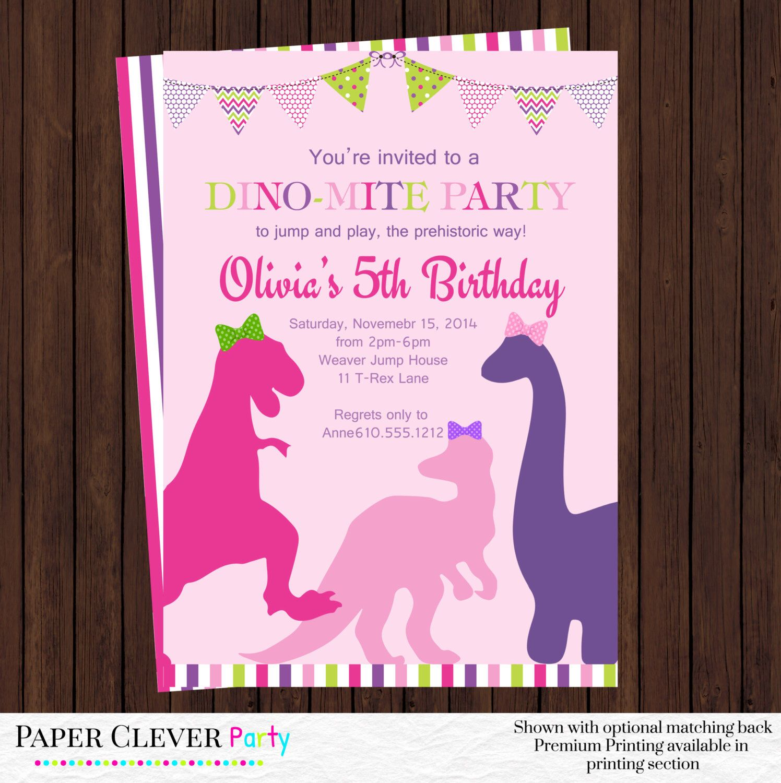 girls dinosaur birthday invitation - party invites pink, purple ...