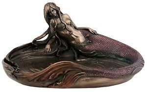 Sea-Nymphs-Pond-Statue-Mermaid-Sculpture-Nautical-Jewelry-Tray-Dish-HOME-DECOR