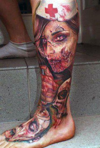 Tatuaże 3d Zombi Na Nodze Tattoos Tatuaże Tatuaże 3d I
