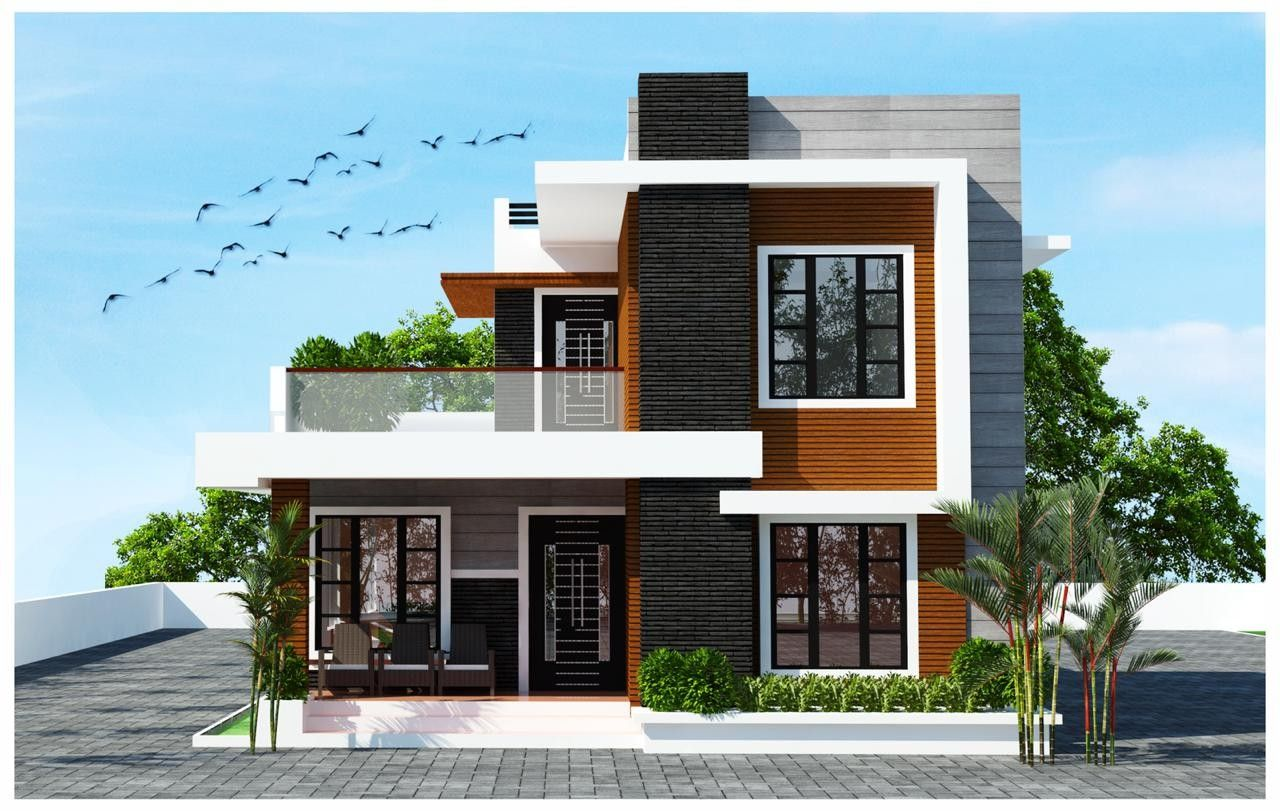Pin By Acha Homes On 3d Front Modern Home Elevation Design Ideas House Gate Design Kerala House Design Modern House Plans