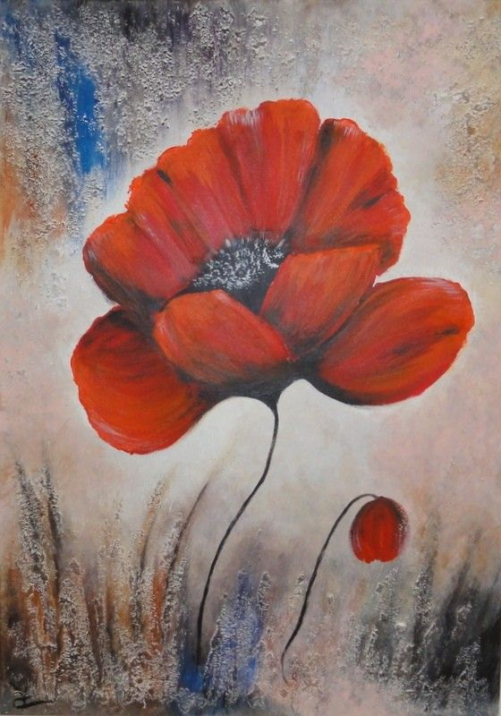 peinture coquelicots sur toile 3d tableaux fleurs que j aime pinterest acrylic canvas. Black Bedroom Furniture Sets. Home Design Ideas