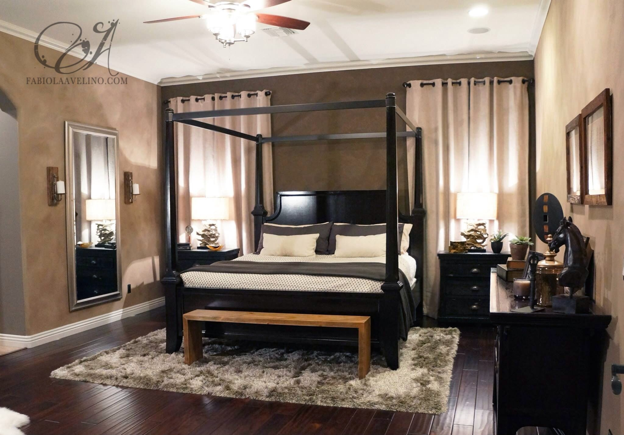 Masculine bedroom Suede paint and interior design by Fabiola