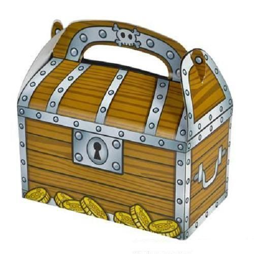 12 TREASURE CHEST TREAT BOXES Pirate Birthday Loot Goody Bag #ST36 FREE SHIPPING