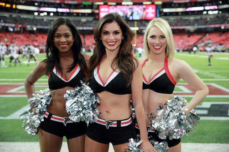 Atlanta Falcon Cheerleaders Cheering During A Game At The Georgia Dome Atlanta Falcons Cheerleaders Falcons Cheerleaders Nfl Cheerleaders