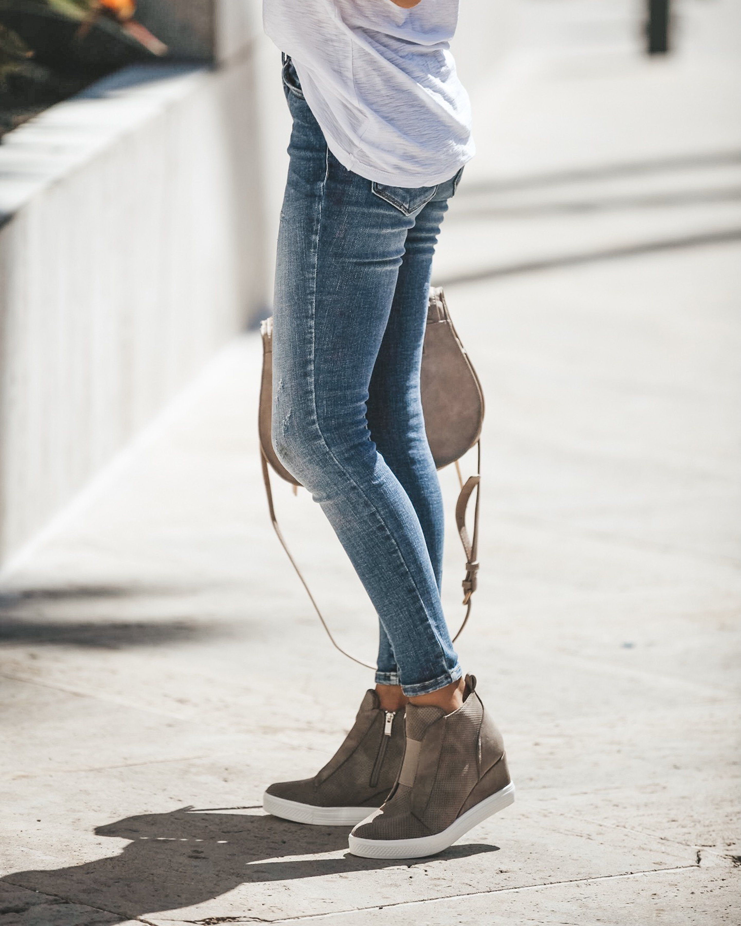 e767f6e884aa PREORDER - New In Town Faux Suede Wedge Sneaker - Taupe