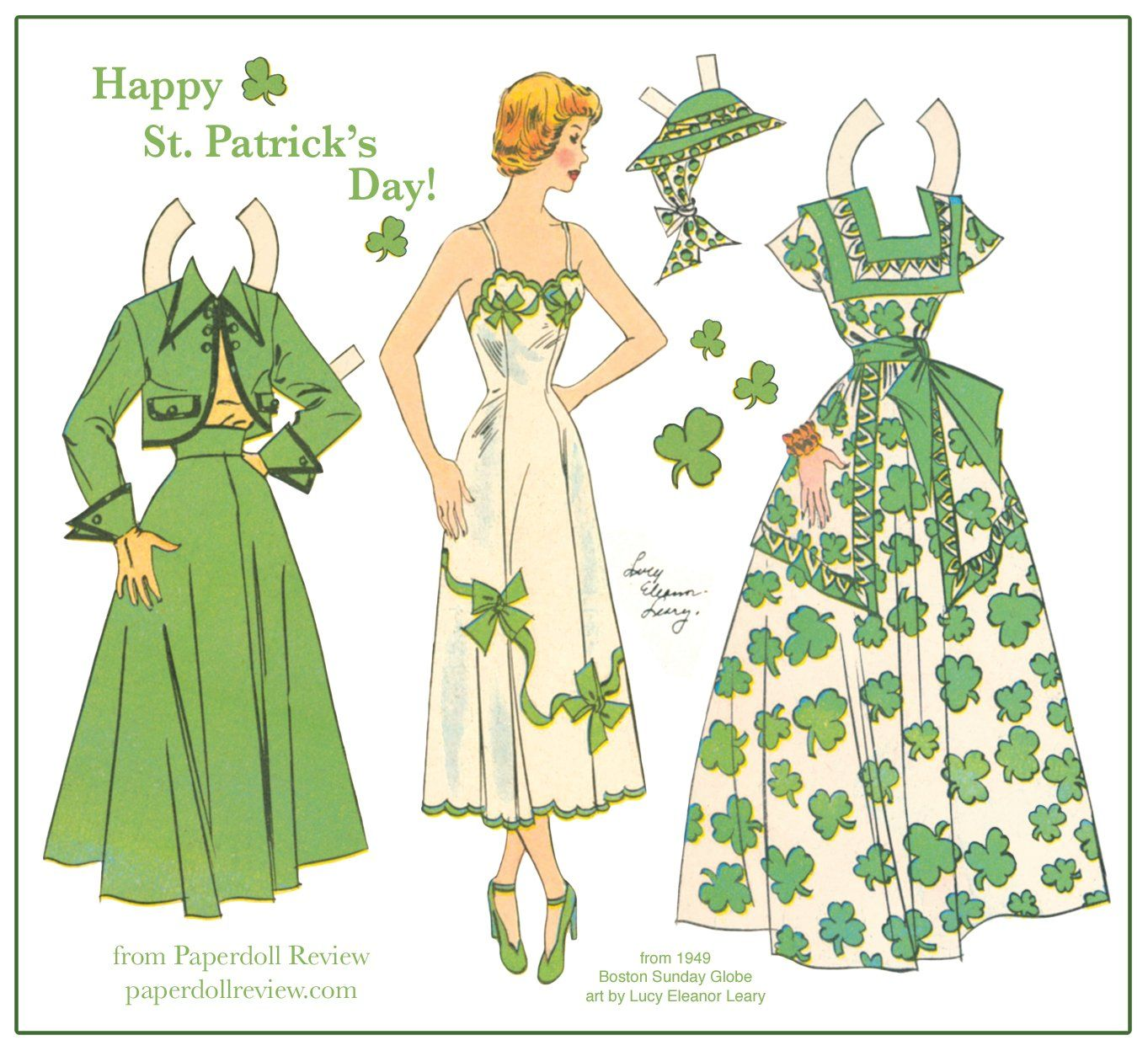 Happy St. Patrick's Day from Paperdoll Review! Here's a pretty little lass with a shamrock frock and smart suit from the Boston Sunday Globe, with art by Lucy Eleanor Leary, 1949.