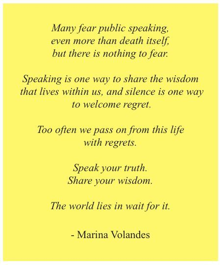 Quote about the fear of public speaking by marina volandes quote about the fear of public speaking by marina volandes stopboris Gallery