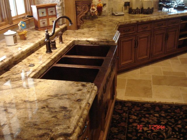 Granite Countertops With Mixed Wood Cabinets Kitchen Renovation Kitchen Countertops Kitchen Design