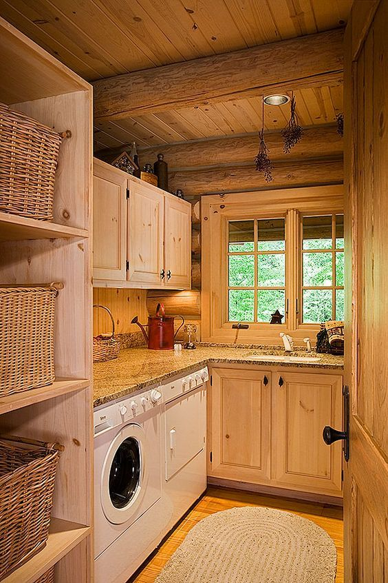 23 Wild Log Cabin Decor Ideas Rustic Laundry Rooms House Home