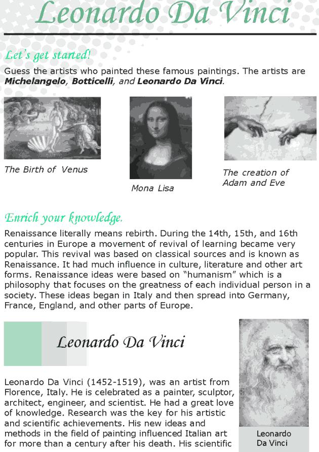 Leonardo Da Vinci Resume Grade 8 Reading Lesson 11 Biographies  Leonardo Da Vinci  English .