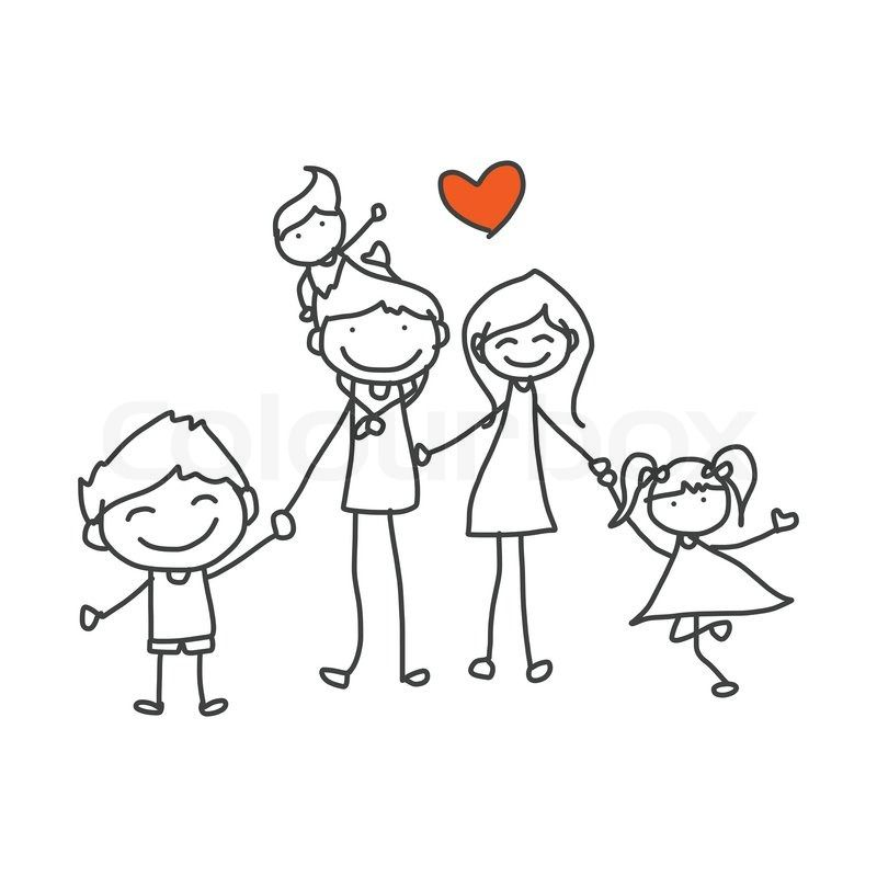 Hand Drawing Cartoon Happy Family Playing Vector Colourbox Family Drawing Cartoon Drawings How To Draw Hands