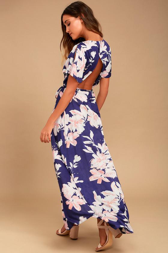 2e53c06a67 Lulus | Azalea Regalia Navy Blue Floral Print Wrap Maxi Dress | Size ...