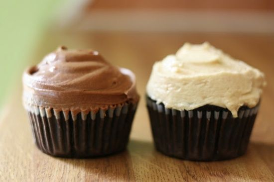 Vegan chocolate cupcakes with peanut butter bourbon frosting and chocolate coffee frosting.