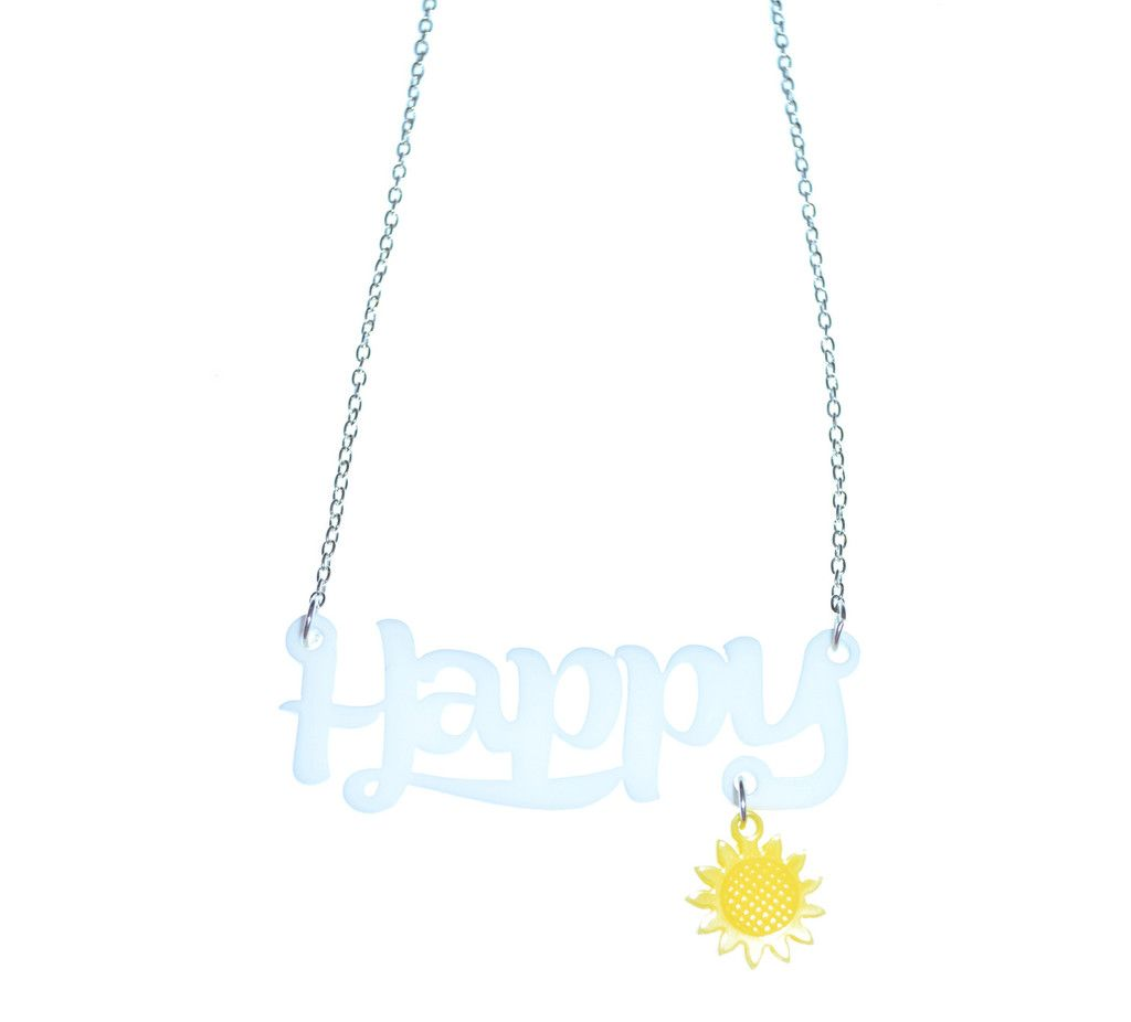 Because I'm happy.. Make like the Pharrell song and be happy with our acrylic necklace and sunflower charm. Happy flower necklace | bonniebling