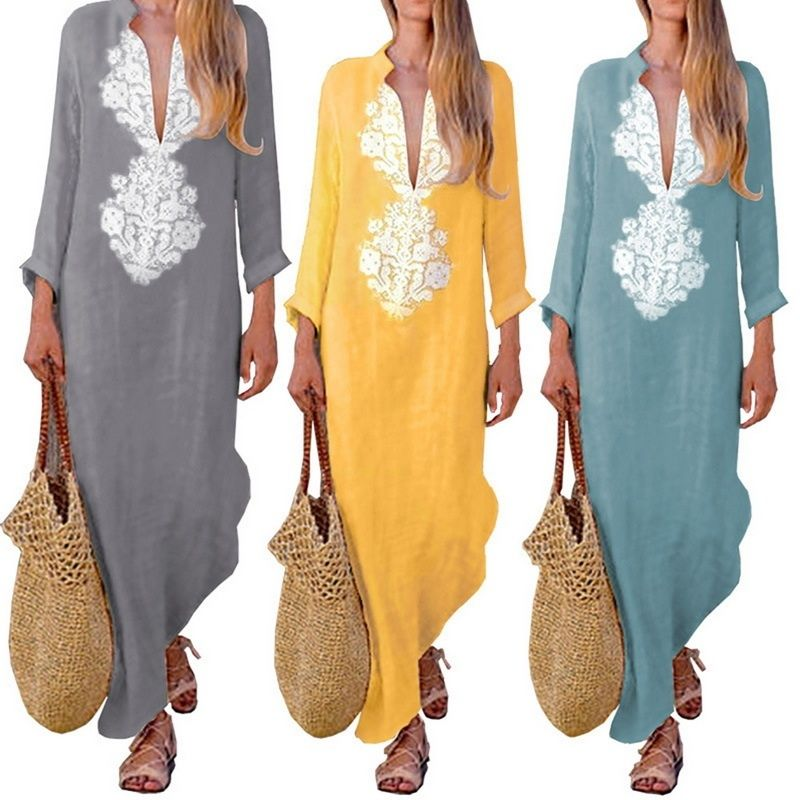 Women Boho Cotton Linen Loose Kaftan Dress Summer Casual Baggy Long Maxi Dresses