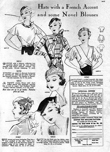 1930s fashion: blouse and hats, April 1933. fashion illustrations.