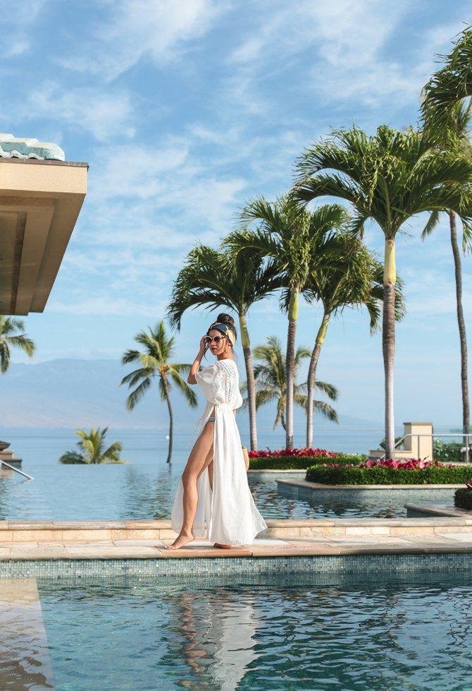fbf2f6645b Resort Wear // Off shoulder bikini at the Four Seasons Maui | Extra ...