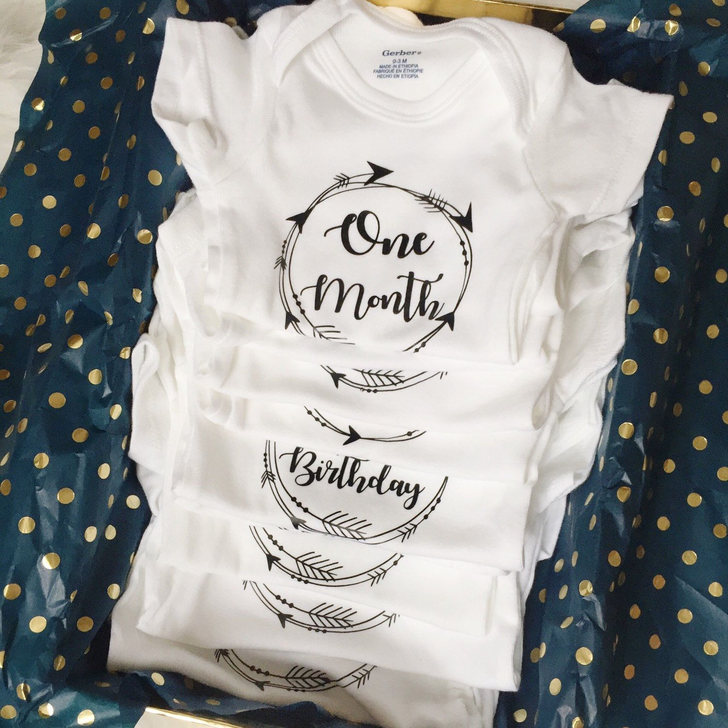 So tired of the month stickers these custom month onesies are so cute and so easier they also come with a personalized keepsake box just added
