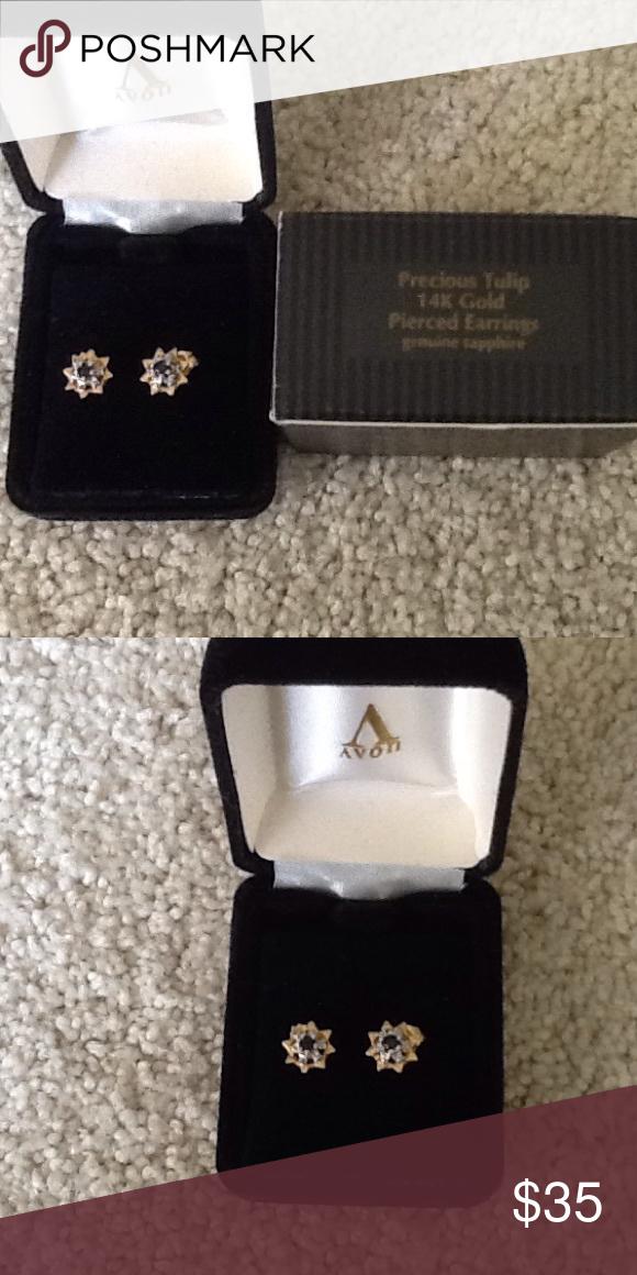 NEVER WORNAvon Genuine Sapphire 14k Gold Earrings Avon Sapphire