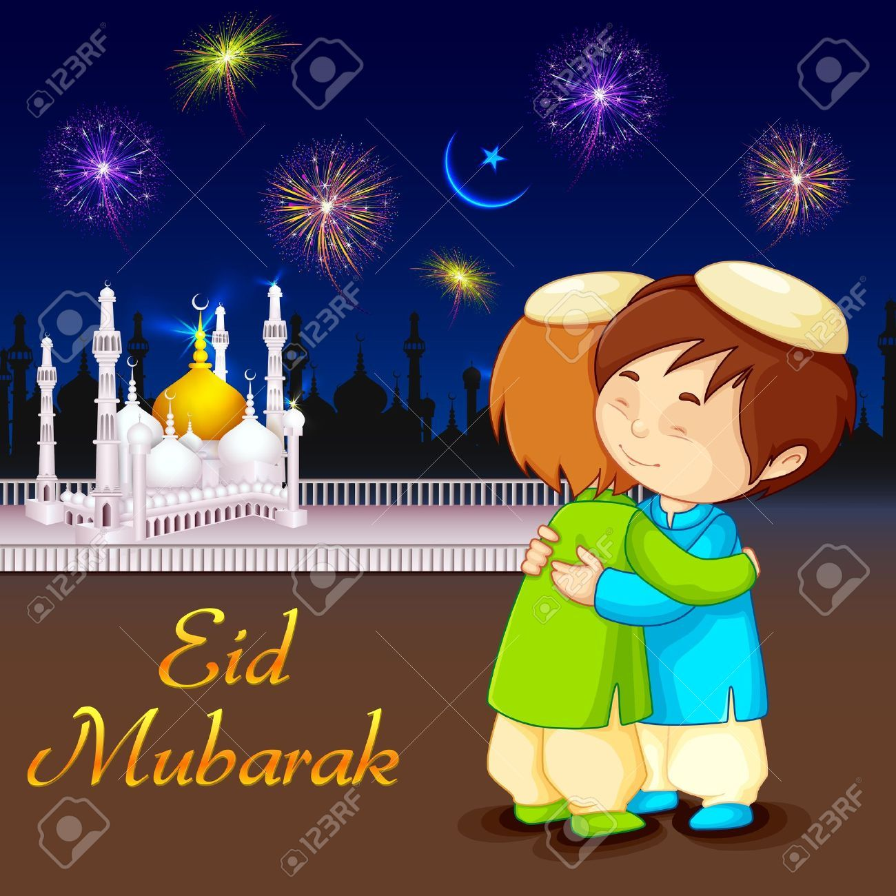 Vector Illustration Of People Hugging And Wishing Eid Mubarak Eid Card Pic Eid Images Eid Mubarak Photo
