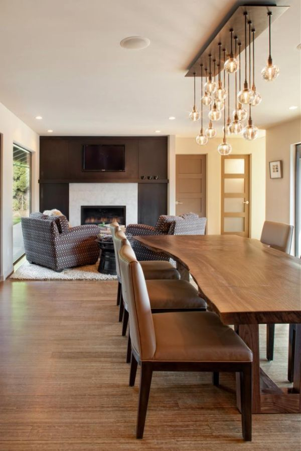 15 Stylish Wood Furniture And Features With Natural Edge Dining Table Lighting Dining Room Design Dining Design
