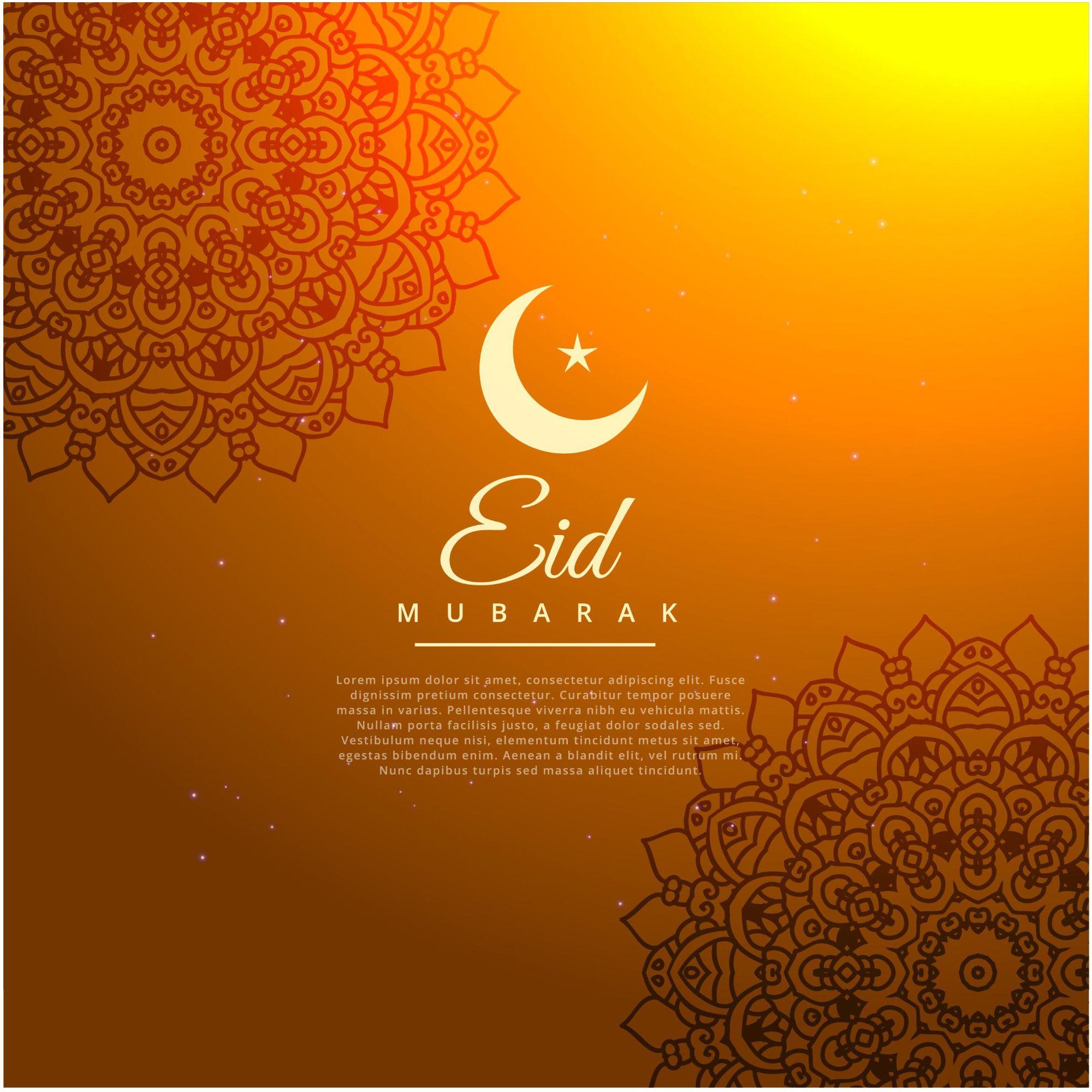 Eid mubarak orange color background wallpaper vector httpwww eid greeting cards kristyandbryce Images