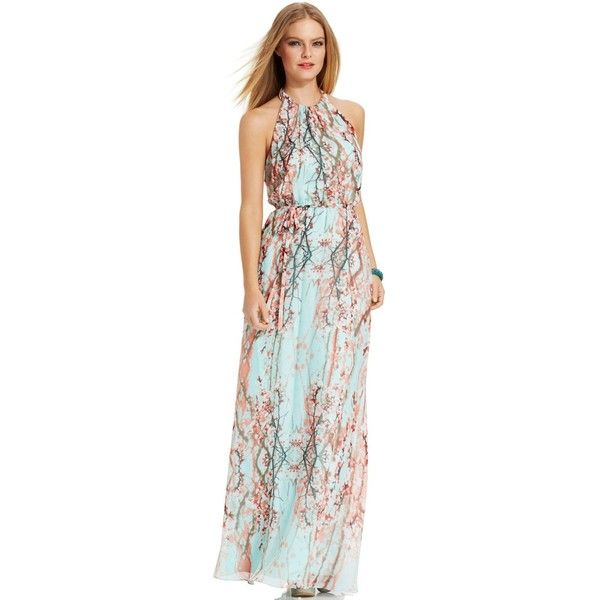 Jessica Simpson Fl Print Halter Maxi Dress