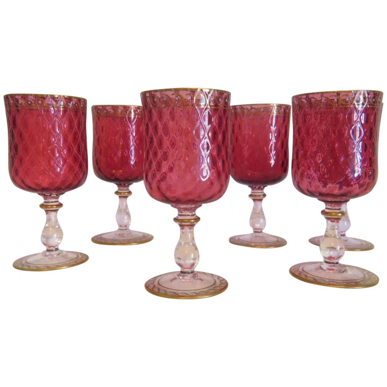 Six Bohemian Cranberry Crystal Glass Goblets Enamel And Gold Accents Ca 1900 In 2020 With Images Glass Crystals Vintage Gifts Ideas