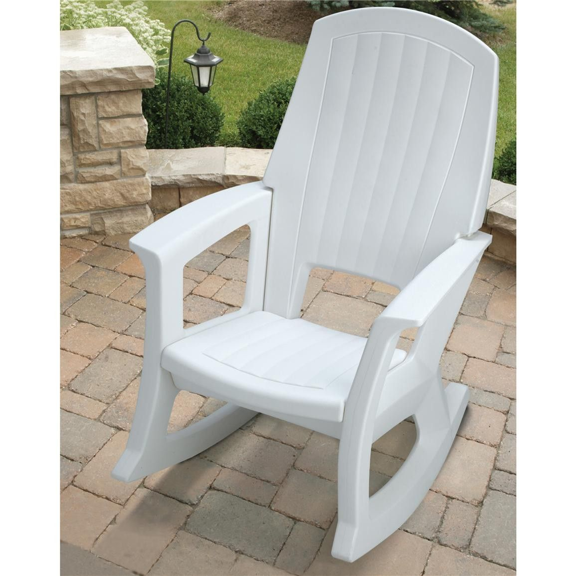 semco plastics white resin outdoor patio rocking chair semw rural king