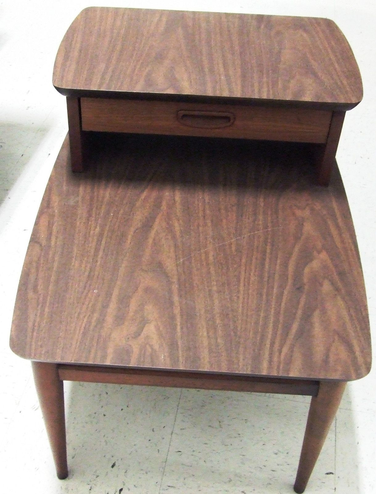 Lane Mid Century Modern 2 Tier Side Table With Drawer Walnut Veneer Finish Ebay Side Table With Drawer Walnut Veneer Side Table