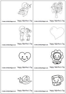 Mini Valentine colouring cards | Printables | Printable ...