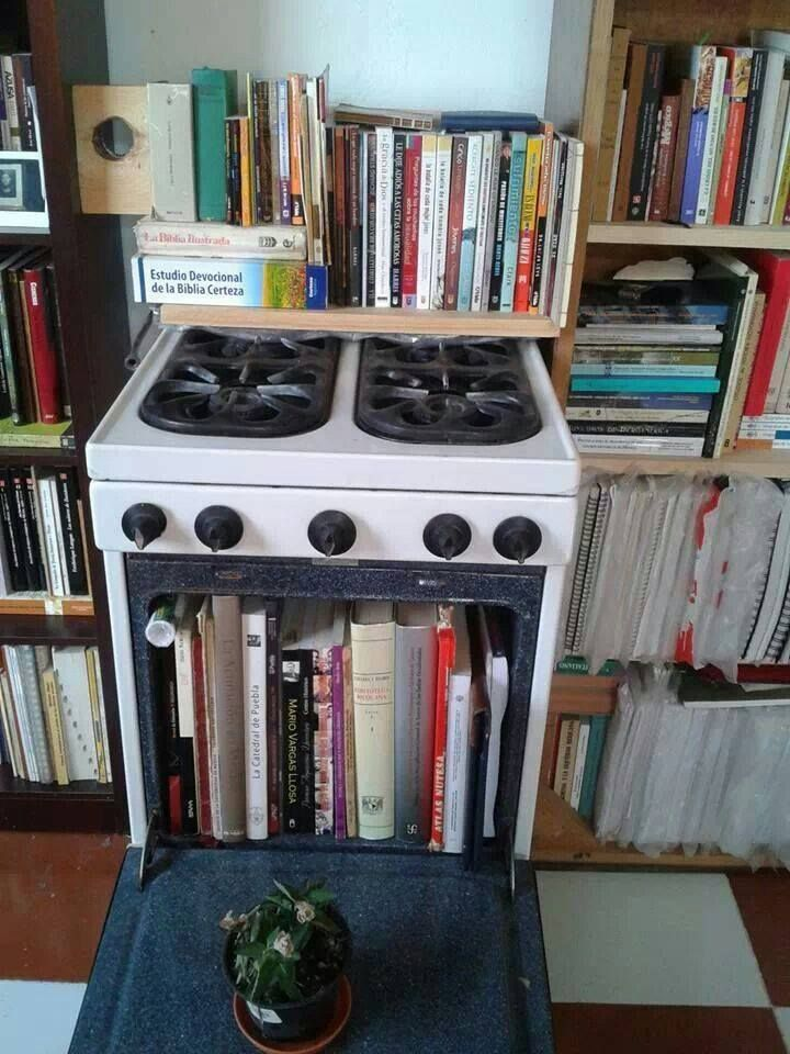 oven becomes book shelter