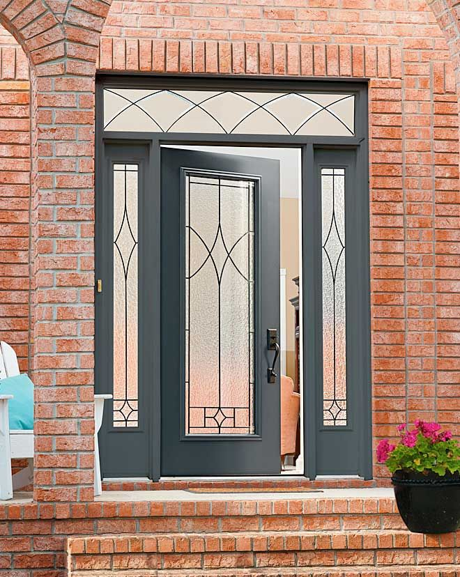 Front doors with black n the glass door glass for Decorative main door designs