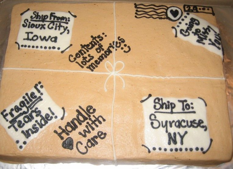 Moving Away Package Cake With Images Going Away Cakes