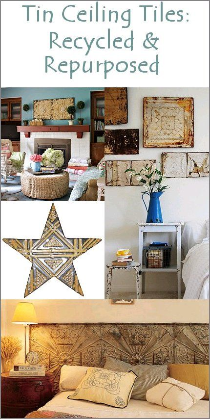 Tin Ceiling Tiles Recycled  Repurposed Tin ceilings Pinterest
