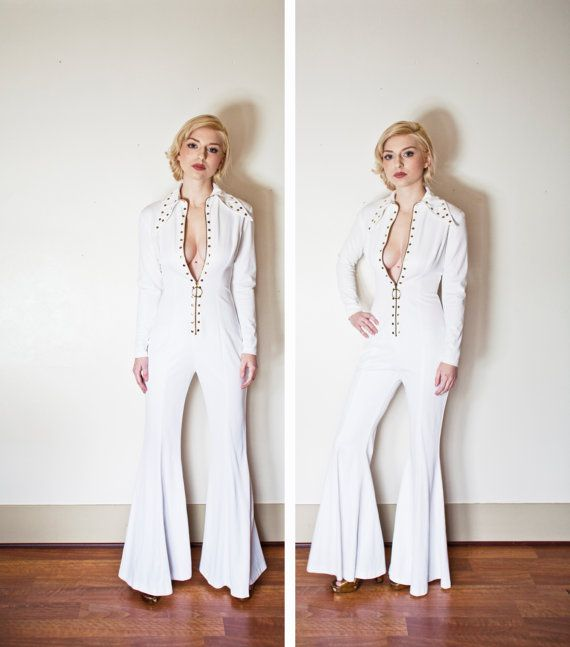 db1a1f7c84c5 Vintage 1970s JUMPSUIT - White Bell Bottom Embellished Zip Up Rocker Cat  Suit 70s - 80s - Small