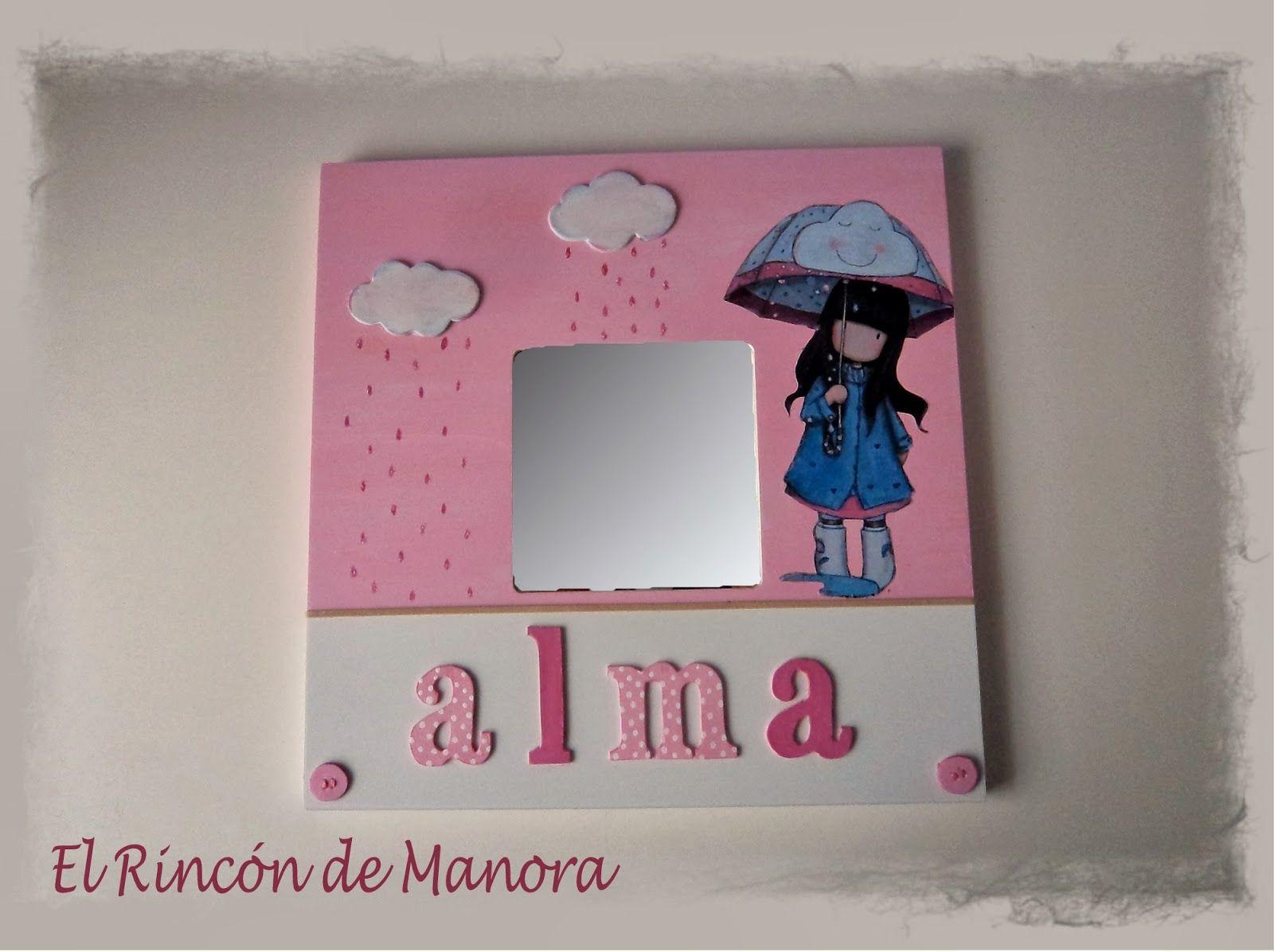 Espejito pintado con acr licos mu eca en decoupage y for Espejos de pared ikea