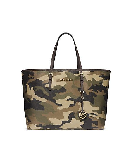 Jet Set Travel Camouflage Saffiano Leather Medium Tote Michael Kors