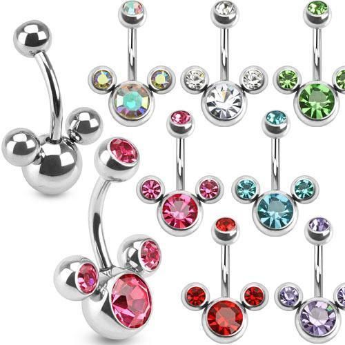 MICKEY MINNIE MOUSE DISNEY CLUSTER CZ GEMS BELLY RING 14g ~Any Color~ in Jewelry & Watches | eBay