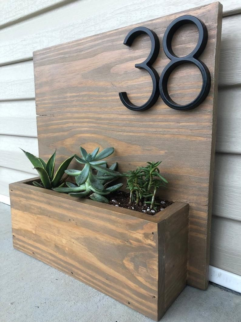 Rustic Wooden Address Planter Box Etsy Rustic Wooden Address Planter Box Etsy Source By Rachel2 In 2020 Handmade Wooden Planters House Numbers Diy Planter Boxes