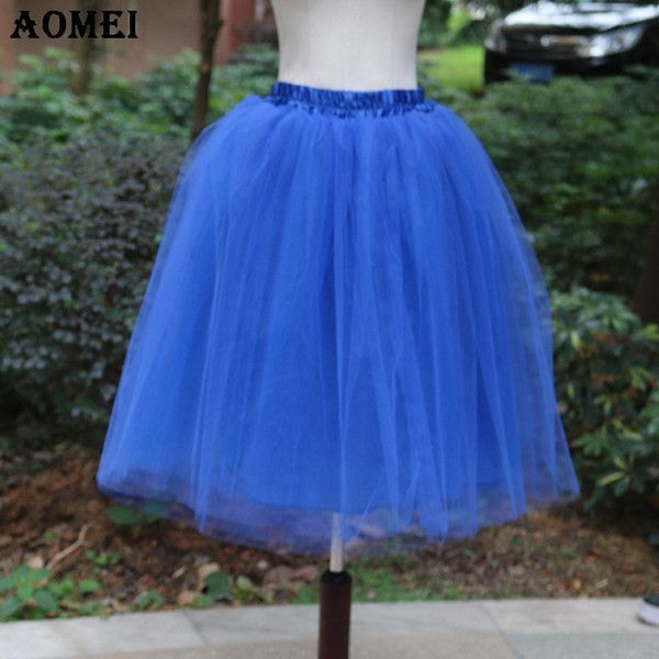 6bb811cf713 New Puff Women Chiffon Tulle Skirt White faldas High waist Midi Knee Length  Chiffon Grunge Jupe