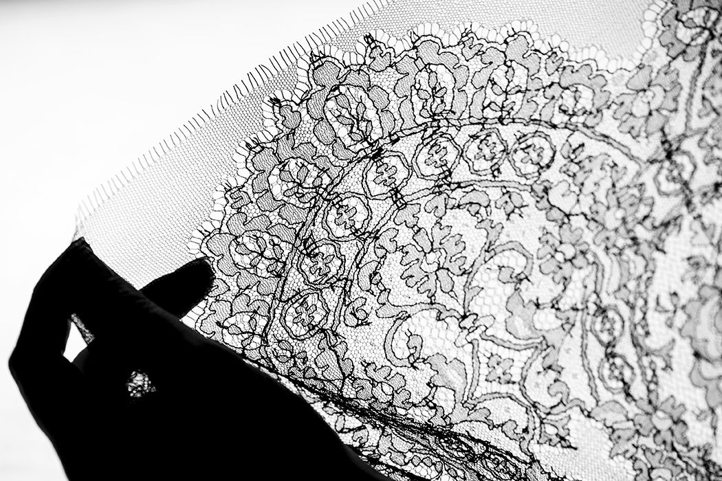 "Detailed shot of Leavers lace in the La Perla factory. Founder Ada Masotti believed it was the most precious lace in the world and described it as the ""fabric of desire""."