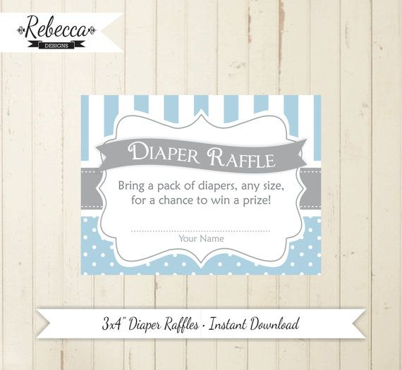 diaper raffle blue baby shower card printable grey diaper raffle - baby shower card template