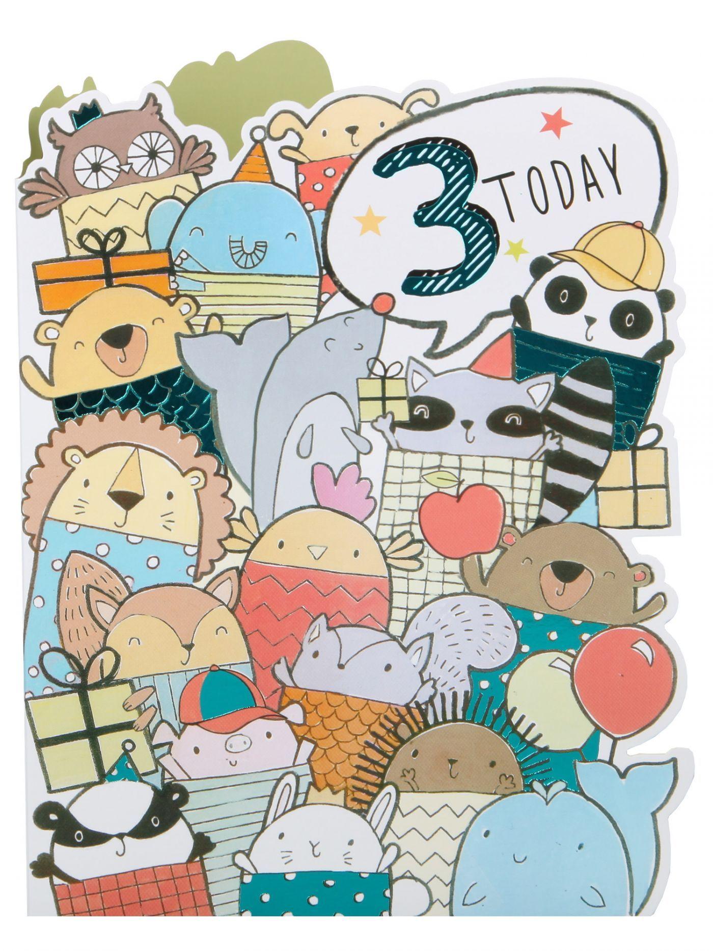 Die Cut Animals Party 3rd Birthday Card Kids 112 Birthday