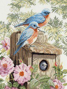Garden blue birds - cross stitch