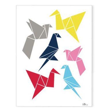 origami birds print by Icelandic design duo Dottir & Sonur for Omm Design
