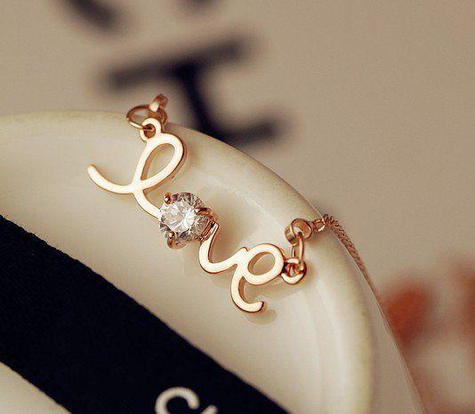 Golden LOVE Letters Diamond Necklace