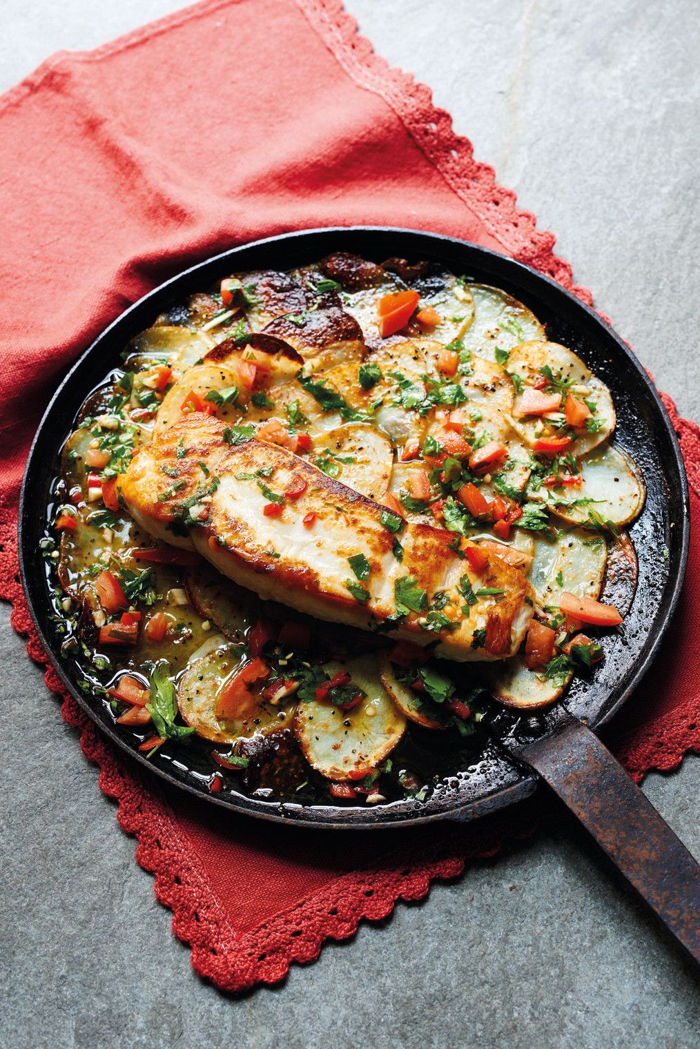 what to eat tonight  halibut baked over spicy potatoes an easy fish supper with amazing